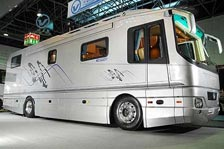 luxury motorhome with car